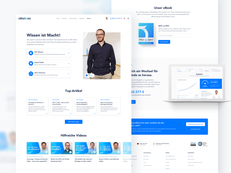ottonova Knowledge Base ui ux healthcare landingpage blue white webdesign website insurance health knowledgebase