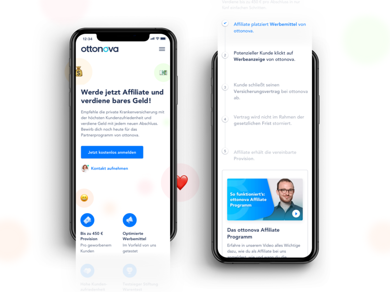 ottonova Affiliate Program (Mobile) landing page emoji insurance health webdesign mobile affiliate website ux ui