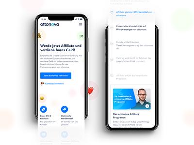 ottonova Affiliate Program (Mobile) landing page emoji insurance health webdesign mobile affiliate website ux ui