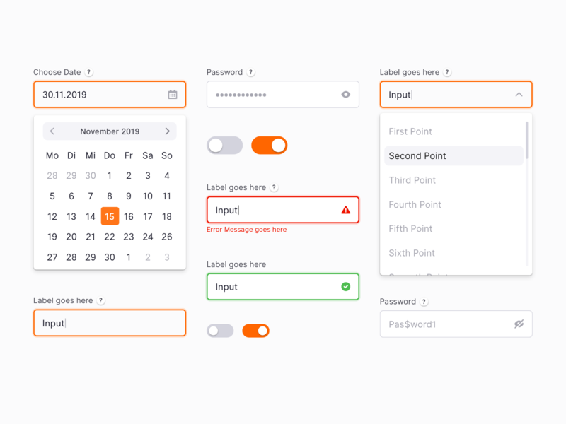 UI Elements - WIP password dropdown toggle interface date picker input forms design system ui