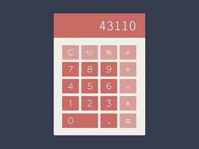 Flat Calculator clean flat ui bold minimal widget