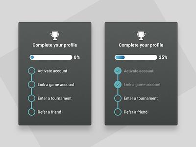 Profile completion simple ui clean web platform esports product completion complete profile