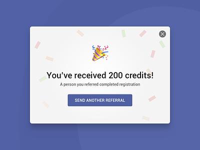 Referral popup ui ux simple clean button cancel confetti emoji close webdesign window popup referral