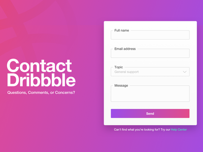 #028 Contact Us gradient dribbble contact page contact form contact us contact daily 028 dailyuichallenge dailyui