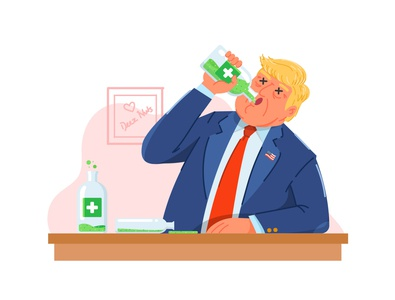 big orange drink character president saitizer covid19 coronavirus donald trump