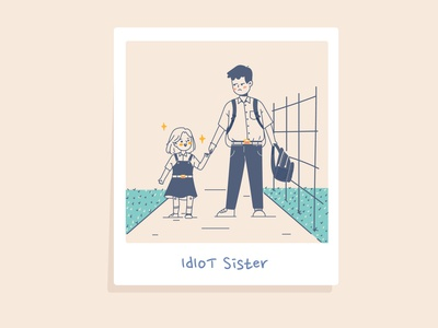 Idiot Sister walk photo boy children family illustraion girl character