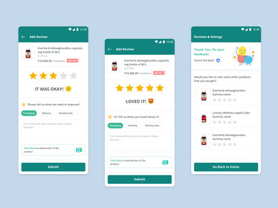 Ratings collection feedback ecommerce mobile app ux ui tabs input box emojis reviews stars ratings