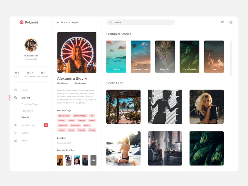 Polaroid instagram gallery profile layout design tags search girl photo website logo ui