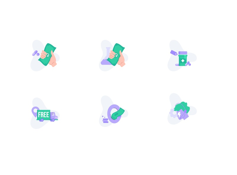 New Icon set doctor app cash delivery medicine illustraion ui ecommerce minimal