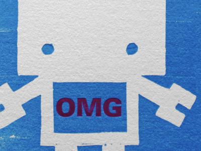 OMG Robot Thank You Card thank you card letterpress wood cut robot