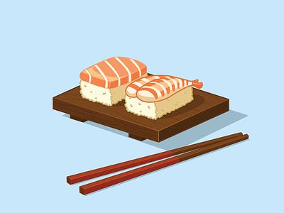 Anyone up for some Sushi? illustration chop sticks rice shrimp tuna rebound food sushi