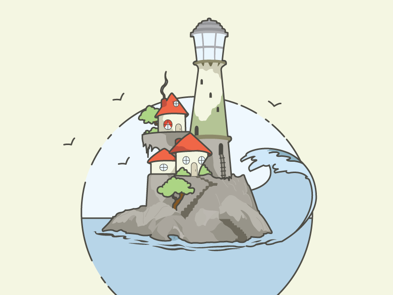 Lighthouse illustration wave water light house lighthouse