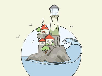 Lighthouse illustration wave water light house lighthouse