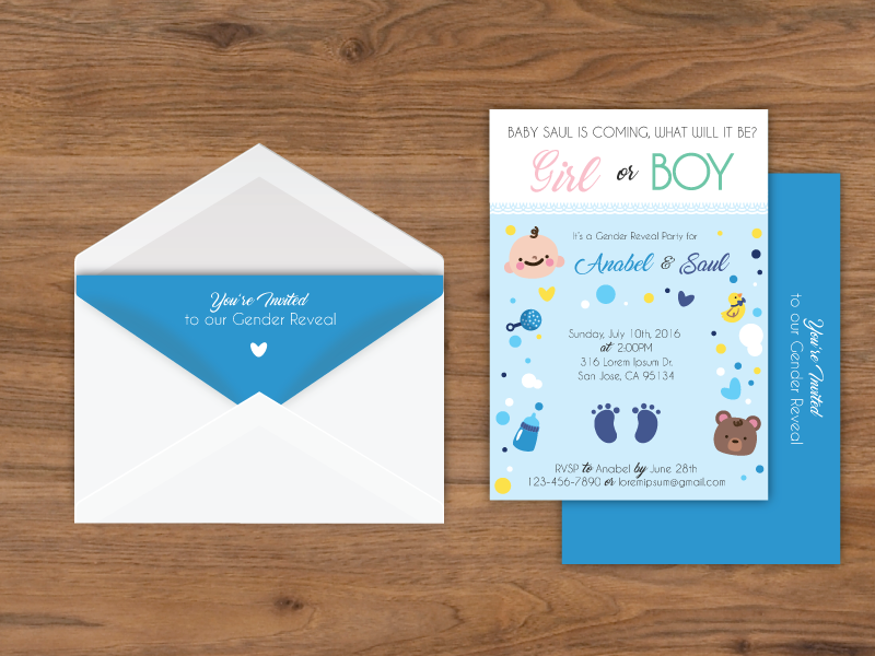 Gender Reveal Party Inviation envelope letter card shower baby invitation party reveal gender