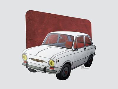 Little Car adobe illustrator illustration classic old little car texture