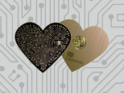 Heart Circuit Pin soft enamel motherboard technology tech pin heart circuit