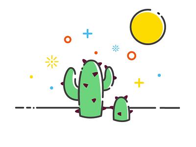 Cactus in the summer thorns illustration sun cactus