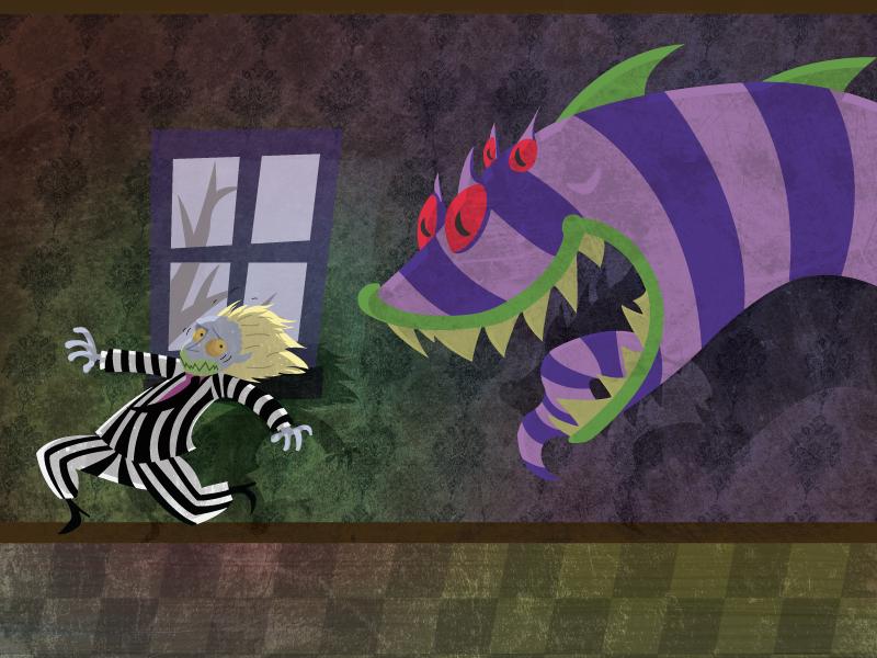Run for your life! textures shadows night dark halloween juice beetle monster sandsnake snake sandmonster beetlejuice