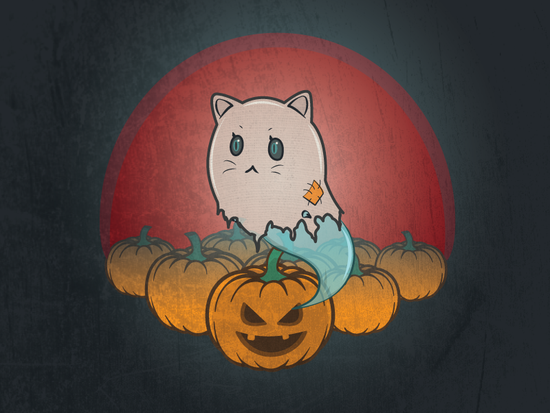 Meow Patch soopy spooky scary cute illustration textures grunge halloween pumpkin meow cat ghost