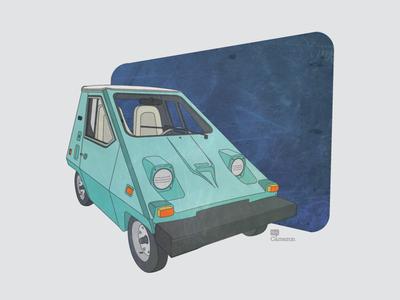 1977 Comuta Car car classic illustration little old texture vector adobe illustrator
