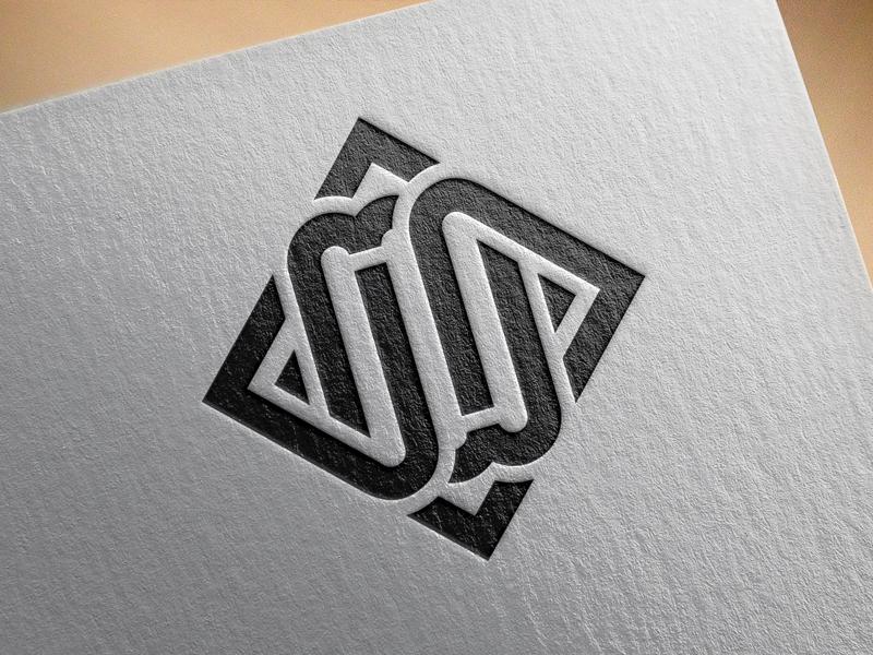 JW self ambigram white black designer personal logo w j