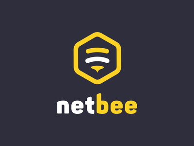 Netbee.co  logo design honey wasp beez yellow logo bee net bee net-bee netbee net