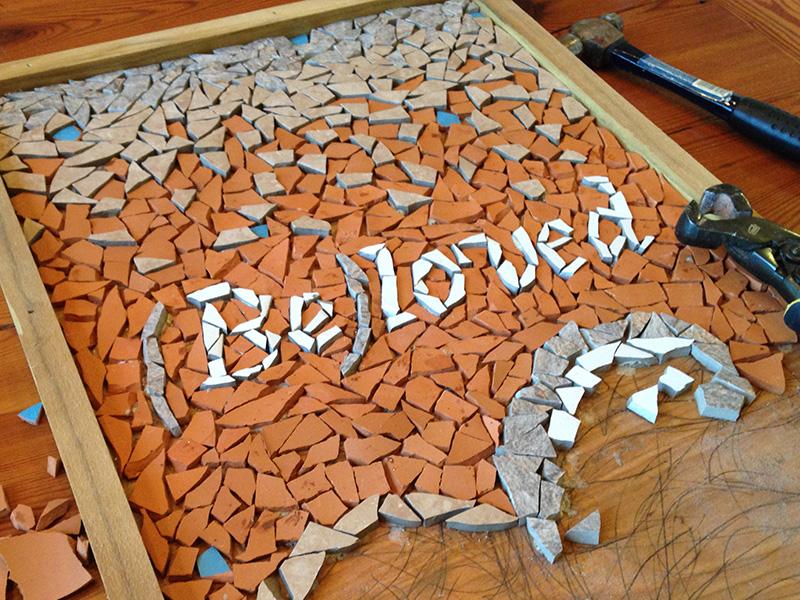 Beloved Mosaic event beloved poster design tile pottery terra cotta mosaic