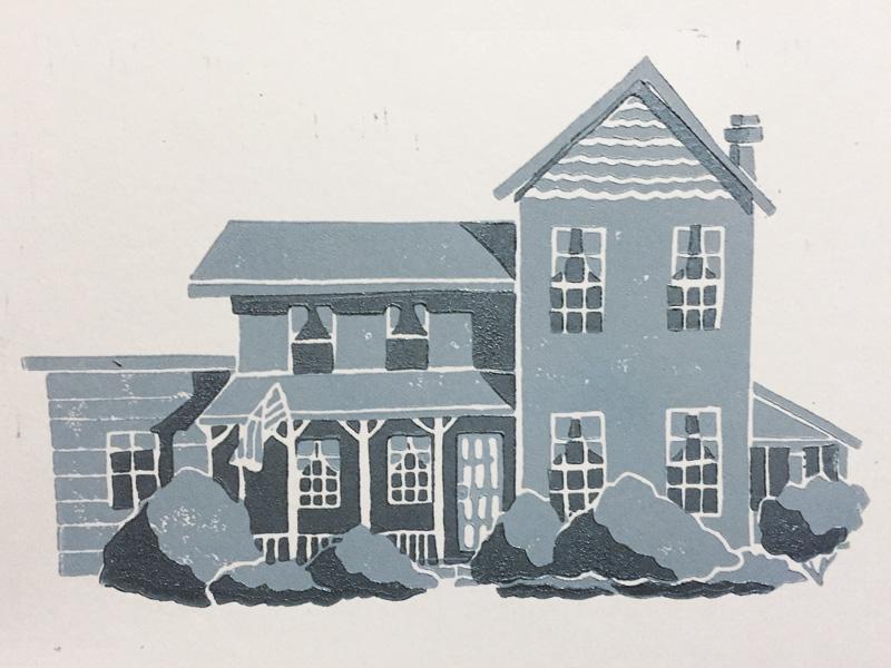 Grandma's House house illustration linocut