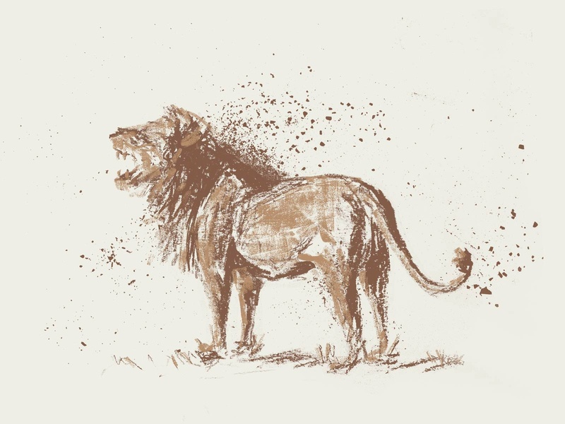 Old Lion art safari africa nature brown tan beige animal 2d king jungle illustration animals old charcoal lion