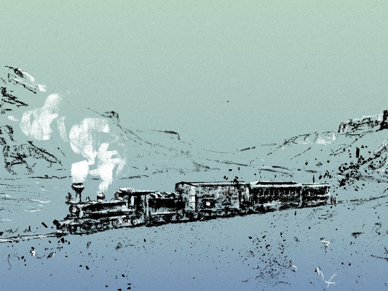 Train drawing transportation travel train tracks smoke train 2d illustration charcoal