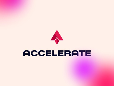Accelerate Brand gradient iconography software programmer development studio technology moon space rocket colors typography logo agency branding brand