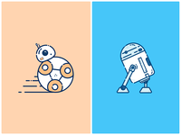 BB-8 & R2-D2 illustration
