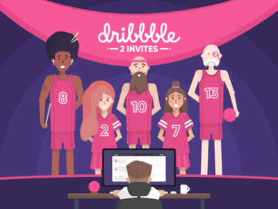 2x Dribbble Invites giveaway players player character pink invites dribbble dribbble invites 2 invites invite