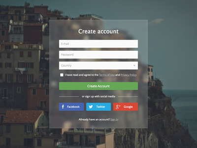 Create Account Transparent Form create account sign up form signup flat transparent blur clean debut
