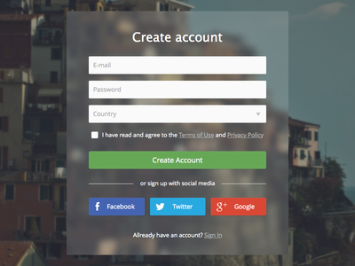 Create Account Transparent Form