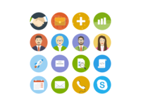 Flat Icons for email templates contacts office circle icons colors mailing email flat icons