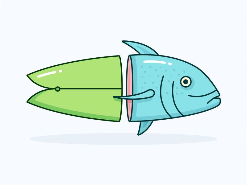 Surfboard Fish vector apparel design clean pastels minimal surf board surfer fish simple illustration surfing surf