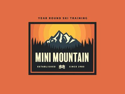 Mini Mountain Patch vector orange ski training mountain skiing patch