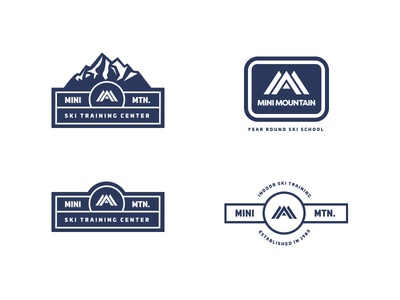 Mini Mountain logo lock ups brand identity branding blue patch badge lock up logos mountain ski skiing logo