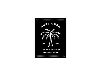 Surf Cuba Apparel Tag branding cuba surf surf cuba surfing palm trees black and white lock up tag apparel