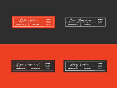 Throwaway Tags labels label lockups black orange brand tags lockup branding design