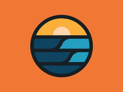 Waves simple circle badge sunset point break surfing waves surf