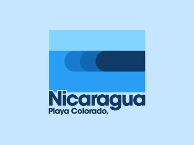 Playa Colorado blue t-shirt graphic minimal clean vector illustration playa colorado swell nicaragua beach ocean water tube barrel surfer waves wave surfing surf