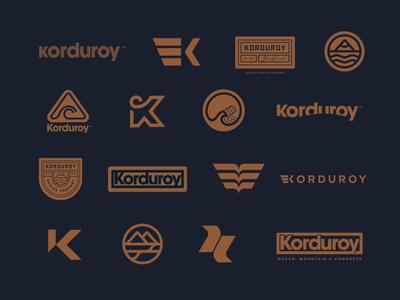 Korduroy Branding Exploration bold apparel lockup badge patch ocean mountain wave brand branding outdoor minimal simple clean skiing surfing logos logo design snow