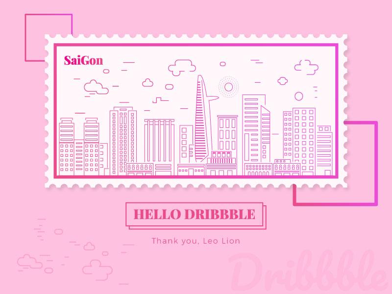 Debut vietnam ui thanks stamp saigon new hellodribbble firstshot dribbble debutshot debut
