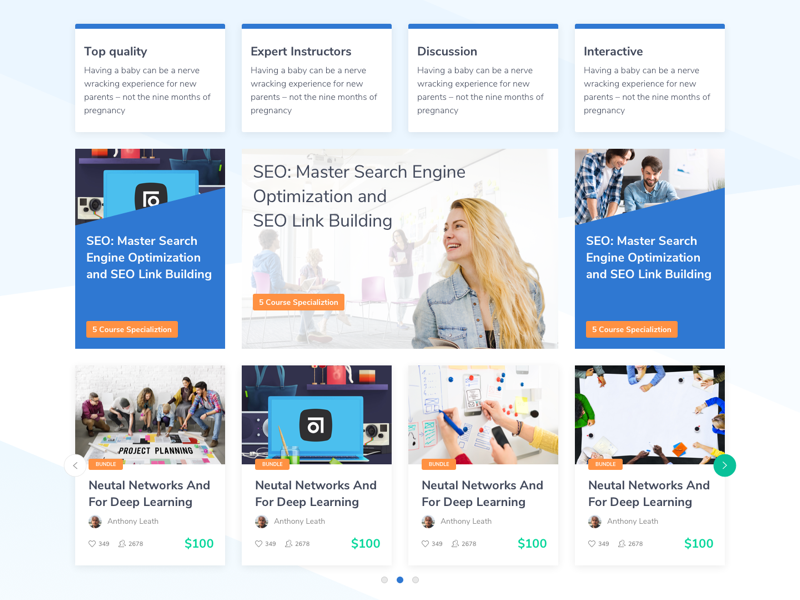 Landing Page Course themes wordpress webdesign learning uxdesign uidesign course