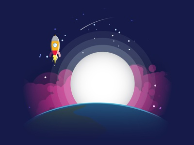 Fly to the Moon commision work vector graphic design illustration sky earth flat design moon rocket