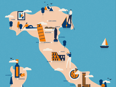 Explore Italy rome venice character graphic vector italian editorial blog illustration texture travel italy map