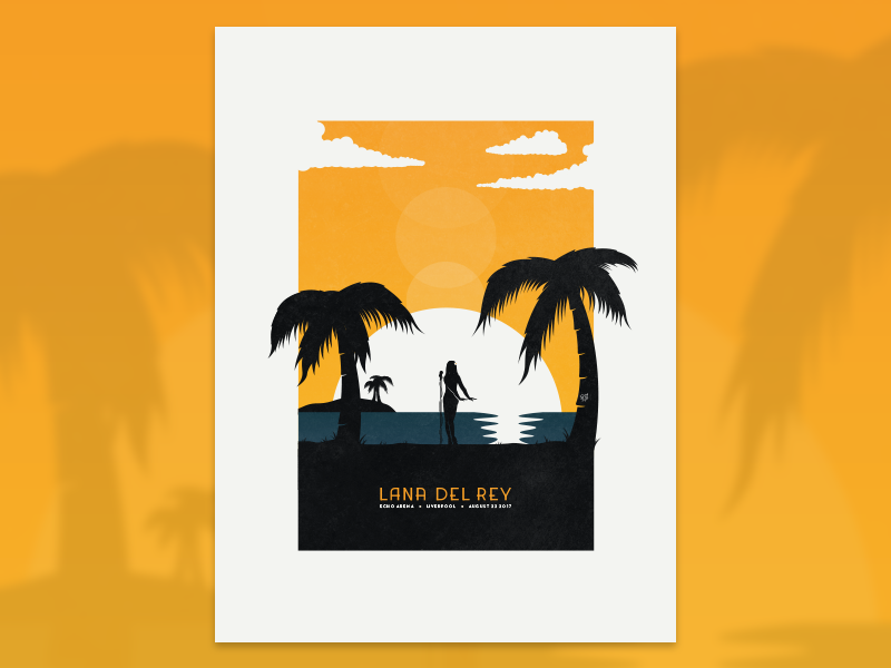 Lana Del Rey art print lana del rey screen print gig poster paradise island vector sunset music gig poster illustration