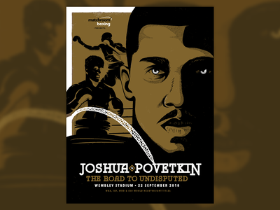 Joshua v Povetkin ink boxer screen print portrait wembley halftone texture poster illustration fight boxing sport